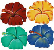 Set of 4 Hibiscus Flower Coasters