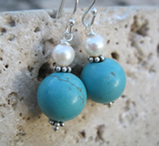 Turquoise White Pearl Sterling Earrings